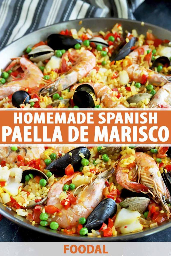 Vertical image of a large pan filled with paella, with text on the top and bottom of the image.