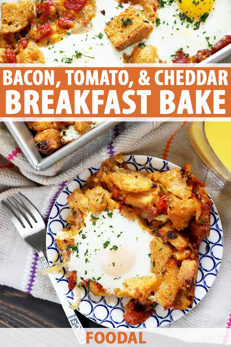Vertical image of sunny-side-up eggs and toasted bread on a plate and in a baking dish on top of a towel next to a metal fork and a glass of orange juice, with text on the top and bottom of the image.