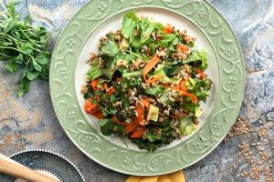 Sunday Salad with Einkorn Berries, Basil, and Honey-Lemon Dressing