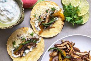 Vegetarian Spiced Pepper, Mushroom, and Onion Tacos