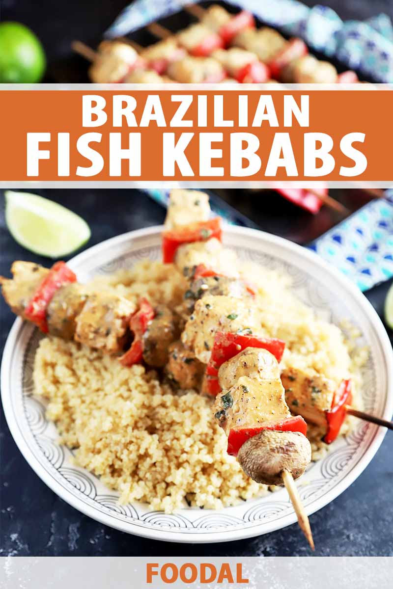 Vertical image of two halibut kebabs over a plate of cooked grains, with text on the top and bottom of the image.