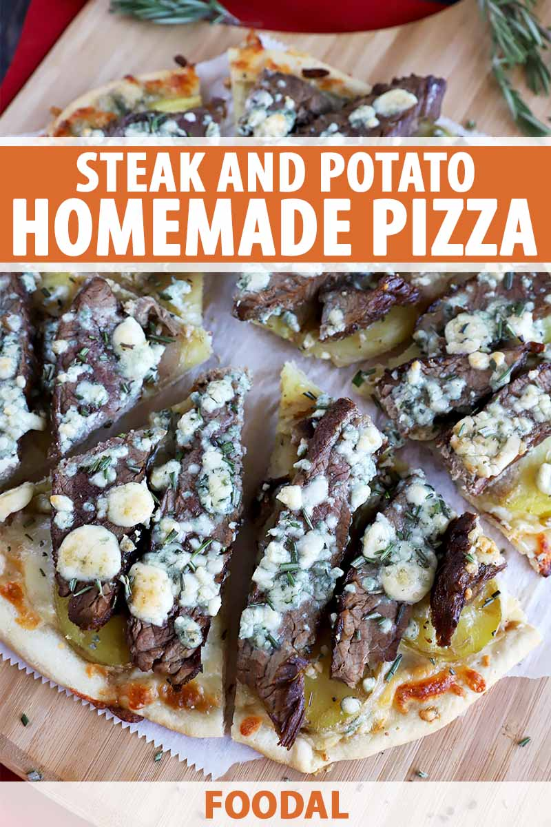 Vertical image of sliced steak pizza topped with blue cheese, with text on the top and bottom of the image.