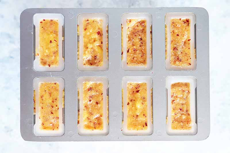 Horizontal top-down image of an orange puree in individual rectangular molds.
