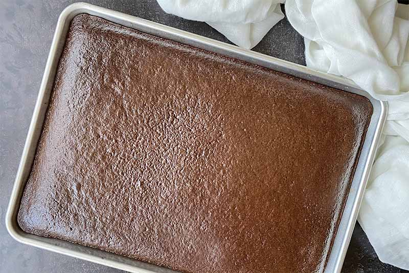 Horizontal image of a baked chocolate dessert in a sheet pan.
