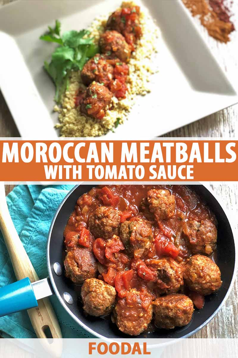 Vertical image of a pan and a plate of meatballs with tomato sauce, with text in the middle and on the bottom of the image.