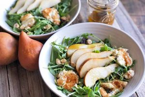 Pear and Arugula Salad with Maple Vinaigrette and Creamy Fried Goat Cheese