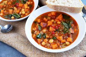 Spicy Sweet Potato and Tatsoi Soup with Chickpeas