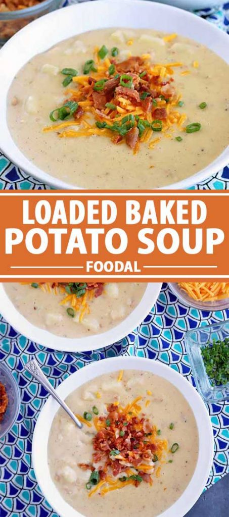 A collage of images showing different views of a loaded baked potato soup recipe.