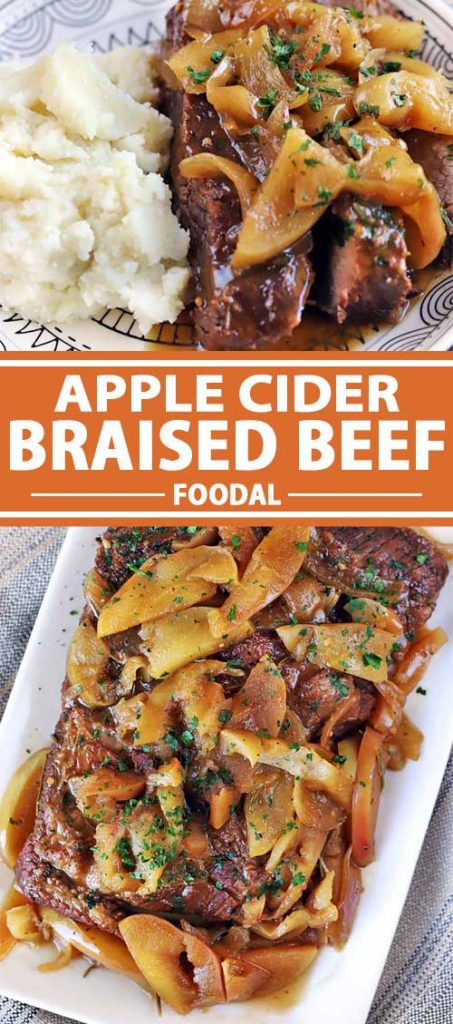 A collage of photos showing different views of Apple Cider Braised Beef.
