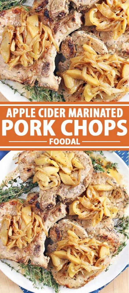 A collage of two pictures featuring pork chops covered in an apple and onion mixture.