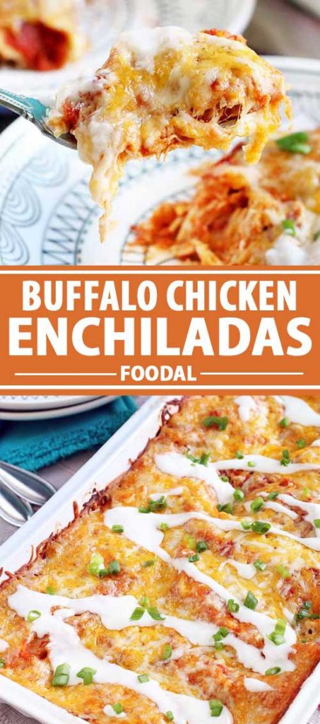 A collage of photos showing different views of Buffalo Chicken Enchiladas.