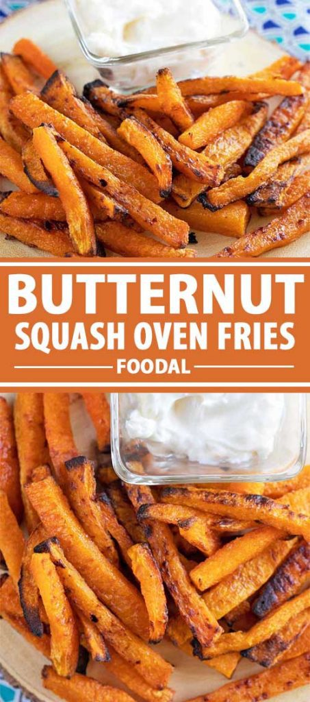 A collage of photos showing different views of butternut squash oven fries.