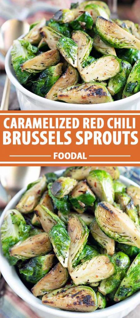 A collage of photos showing different views of Caramelized Red Chili Brussels Sprouts.