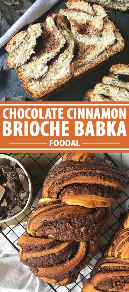 A collage of photos that shows different views of Chocolate Cinnamon Brioche Babka Bread.