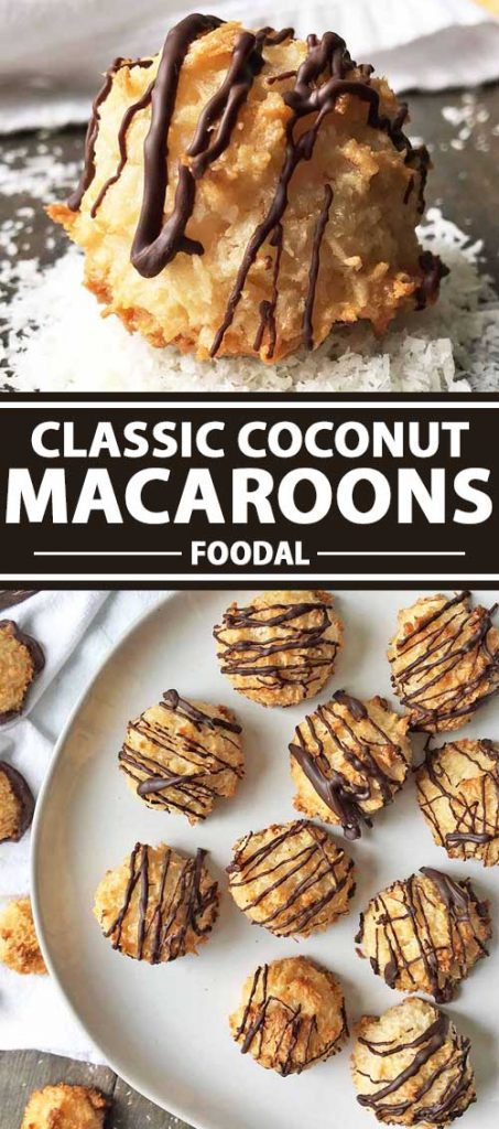 A collage of photos showing different views of Classic Coconut Macaroons.