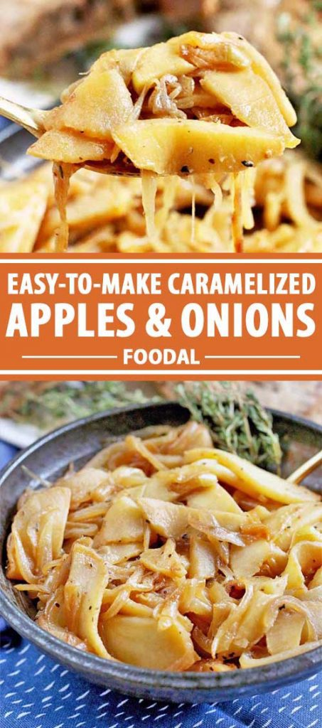 A collage of photos showing different views of a caramelized apples and onions recipe.
