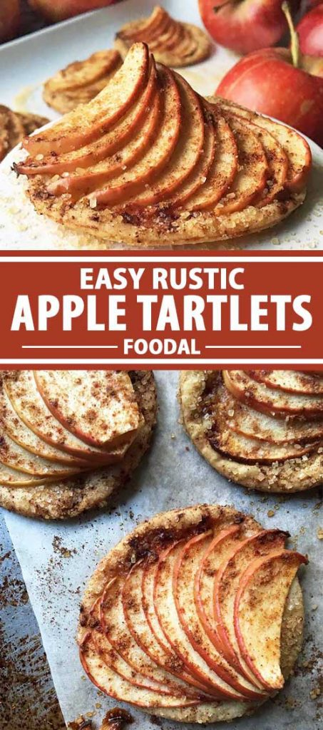 A collage of photos showing easy rustic apple tartlets at different angles.