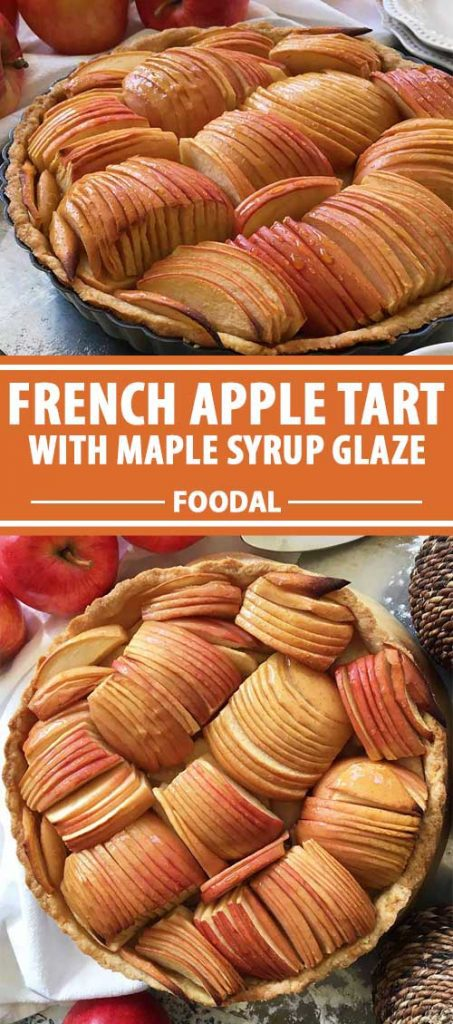 A collage of photos showing different views of a French apple tart dish.