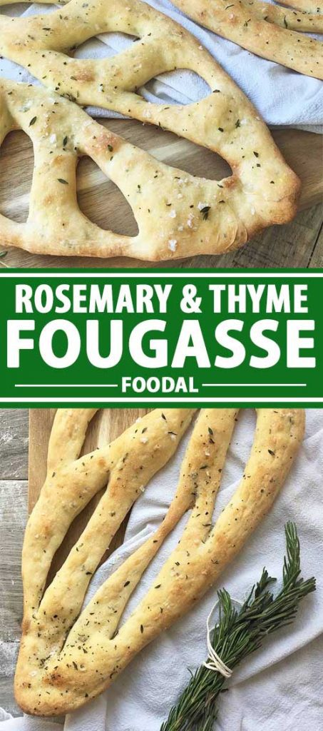 A collage of photos showing different views of French Fougasse Bread with Herbs.