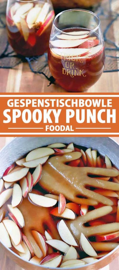 A collage of images showing different views of Gespenstischbowle Spooky Punch.