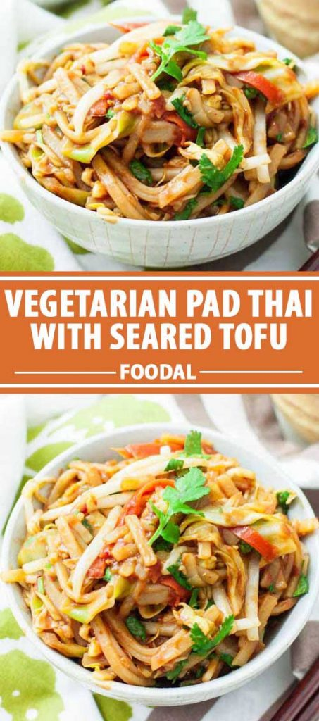 A collage of photos showing different views of Gluten-Free Veggie-Packed Pad Thai with Seared Tofu.