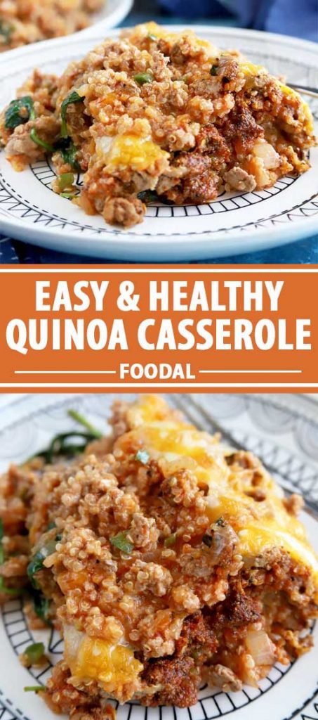 A collage of photos showing different views of a healthy quinoa casserole dish.
