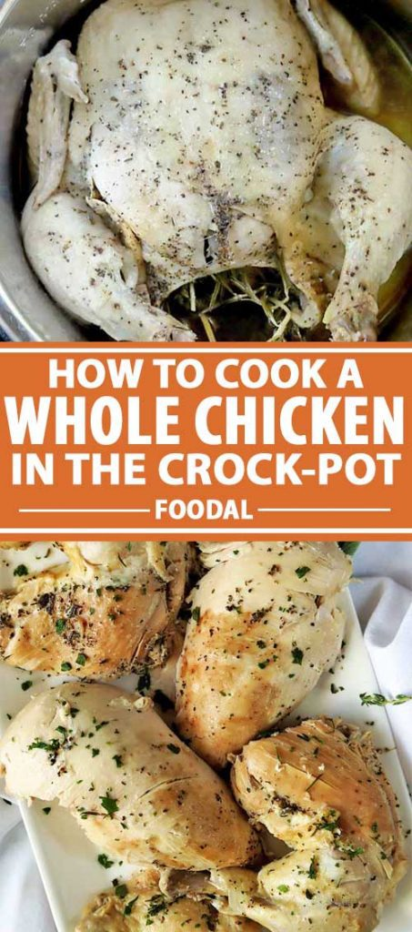 A collage of photos that shows various images of a whole chicken being cooked in a crockpot.
