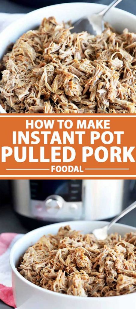 A collage of images showing pulled pork that was pressure cooked with an instant pot.