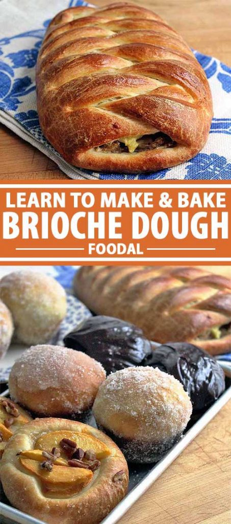 A collage of images that shows raw brioche dough and baked and finished pastries.