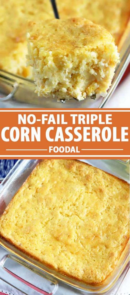 A collage of photos showing different views of a triple corn casserole.