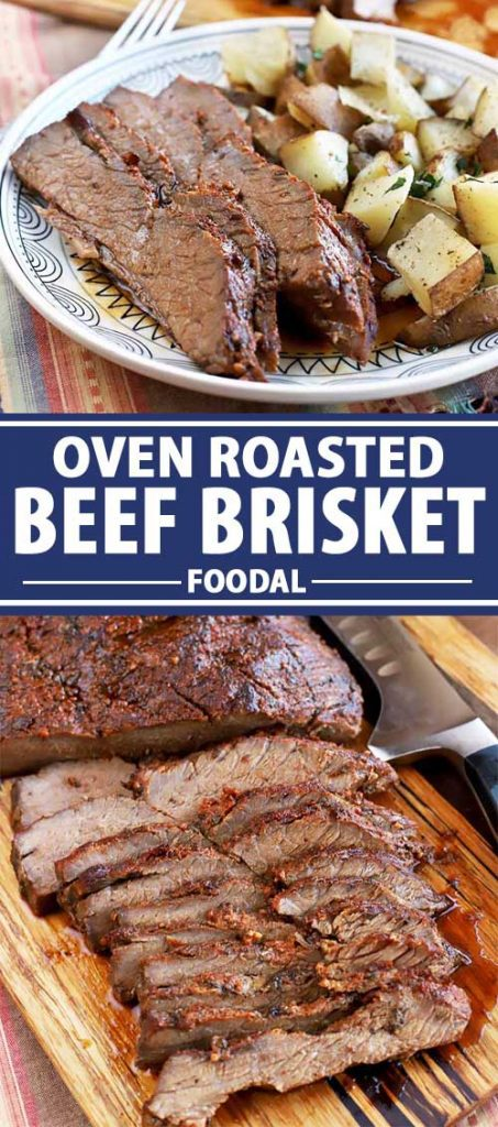 A collage of photos showing different views of an oven roasted beef brisket.
