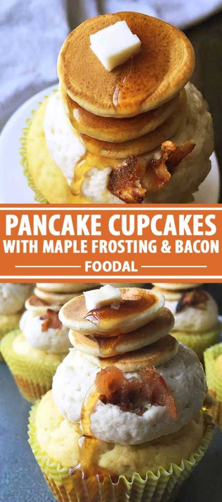A collage of photos showing different views of Pancake Cupcakes with Maple Frosting and Bacon.