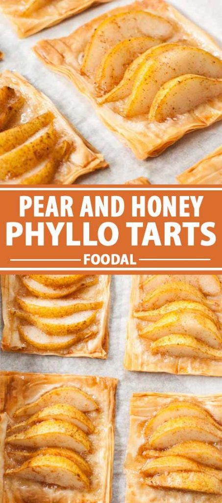 A collage of photos showing different views of Pear and Honey Phyllo Tarts.