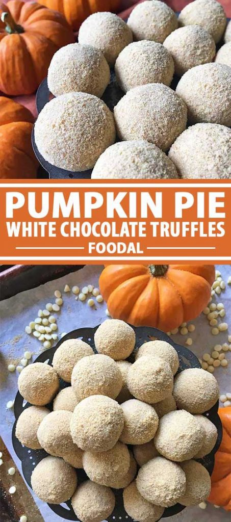 A collage of photos showing different views of Pumpkin Pie White Chocolate Truffles.