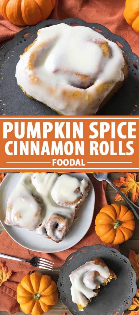 A collage of photos showing various views of homemade pumpkin spice cinnamon rolls.
