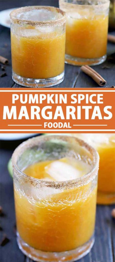 A collage of photos showing different views of a pumpkin spice margarita drink.