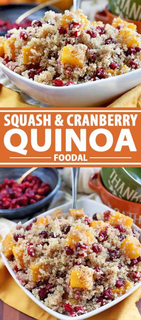 A collage of photos a squash and cranberry quinoa dish.
