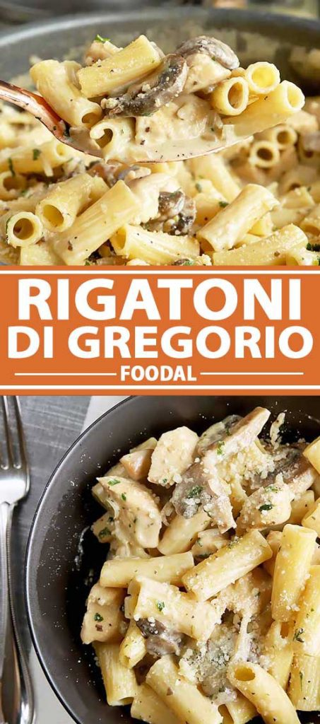 A collage of photos showing different images of a recipe for Rigatoni Di Gregorio.