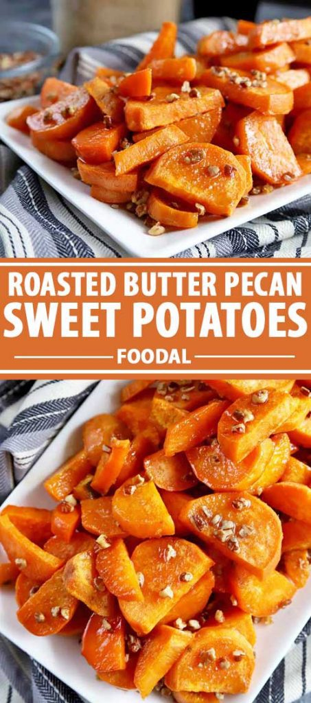 A collage of photos showing different images of roasted butter pecan sweet potatoes.