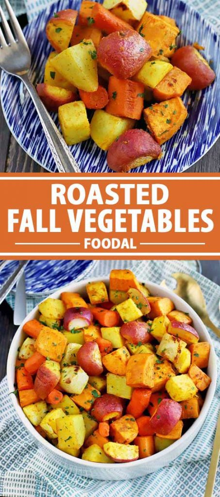 A collage of photos showing different views of roasted fall vegetables.