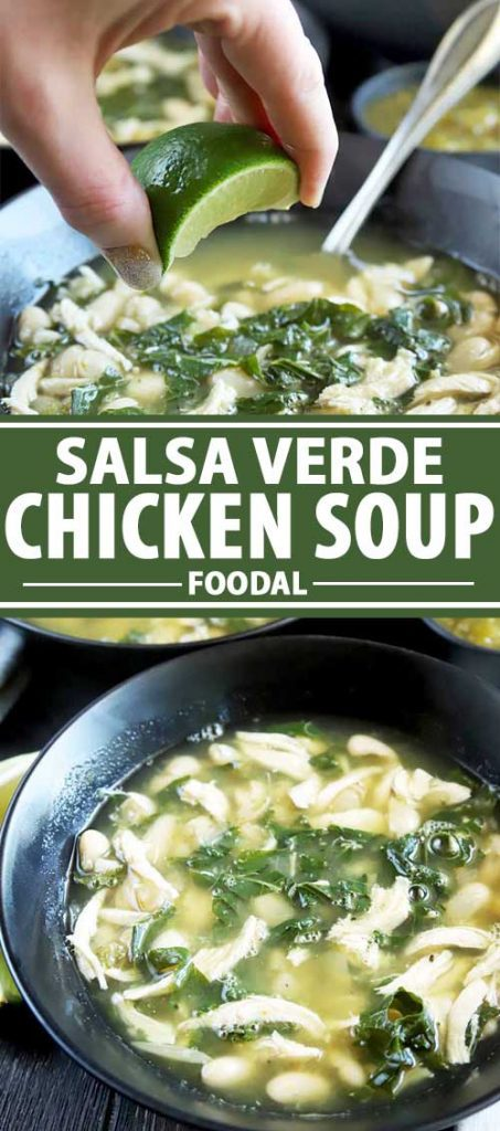 A collage of photos showing different images of a salsa verde chicken soup dish.