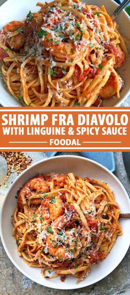 A collage of photos showing different vies of Shrimp Fra Diavolo.