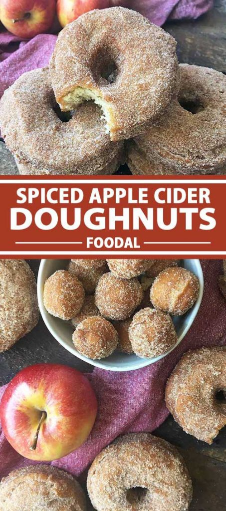 Vertical image of a collage of sugar-coated donuts and donut holes with a red towel and whole apples next to them.
