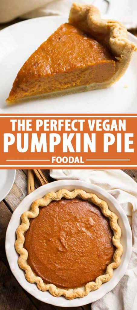A collage of photos showing different views of a vegan pumpkin pie.