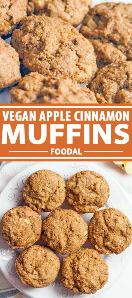 A collage of photos showing different views of Vegan Apple Cinnamon Muffins.