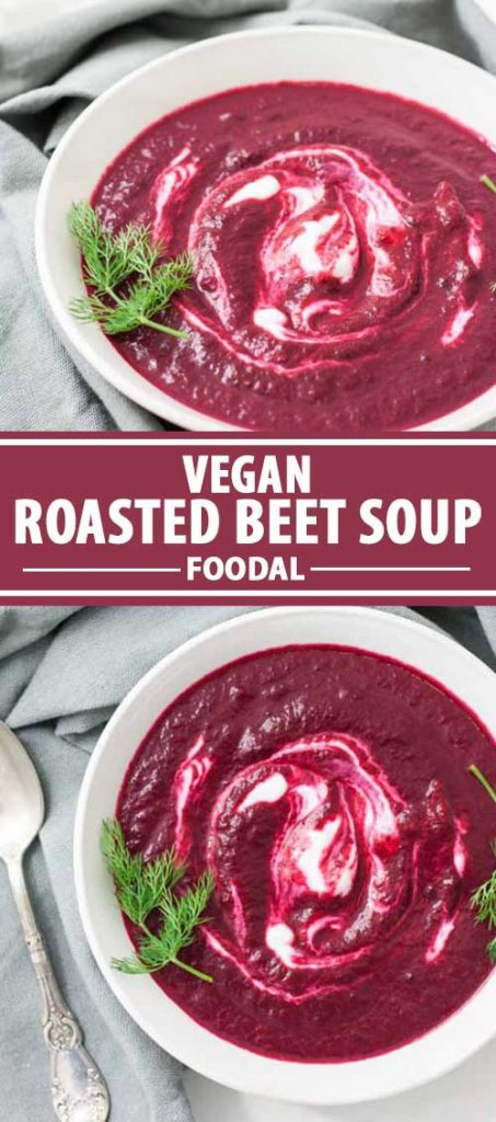 A collage of images showing Vegan Roasted Beet Soup with Cashew Cream.