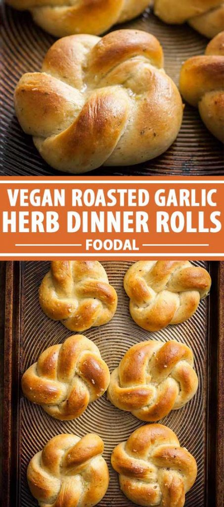 A vertical collage of photos with braided dinner rolls on a baking sheet.
