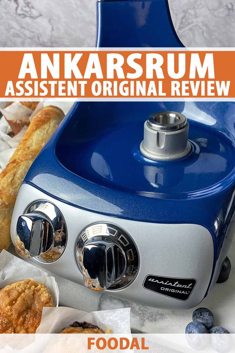 Vertical close-up image of the base of a blue mixer next to bread and muffins, with text on the top and bottom of the image.