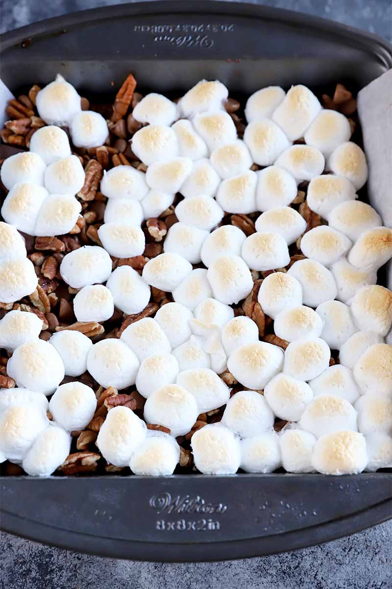 Vertical image of brownies in a square pan topped with pecans and toasted marshmallows.