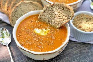 Roasted Carrot Onion Soup with Dukkah Spice